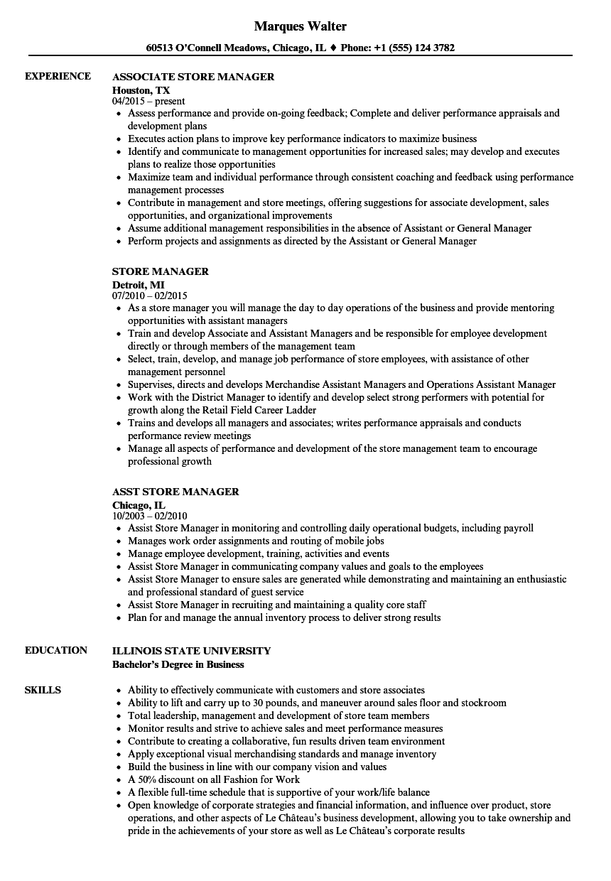 store manager resume samples