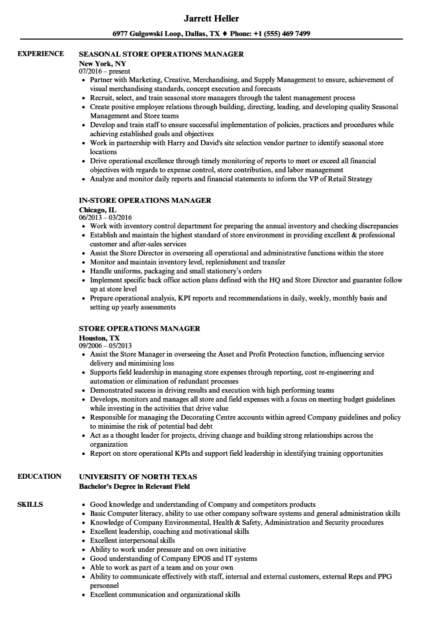 Download Store Operations Manager Resume Sample As Image File