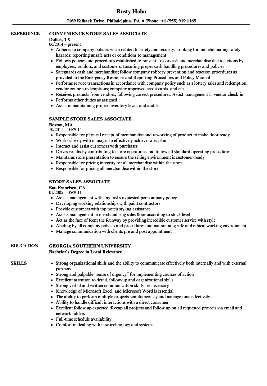 store sales associate resume samples