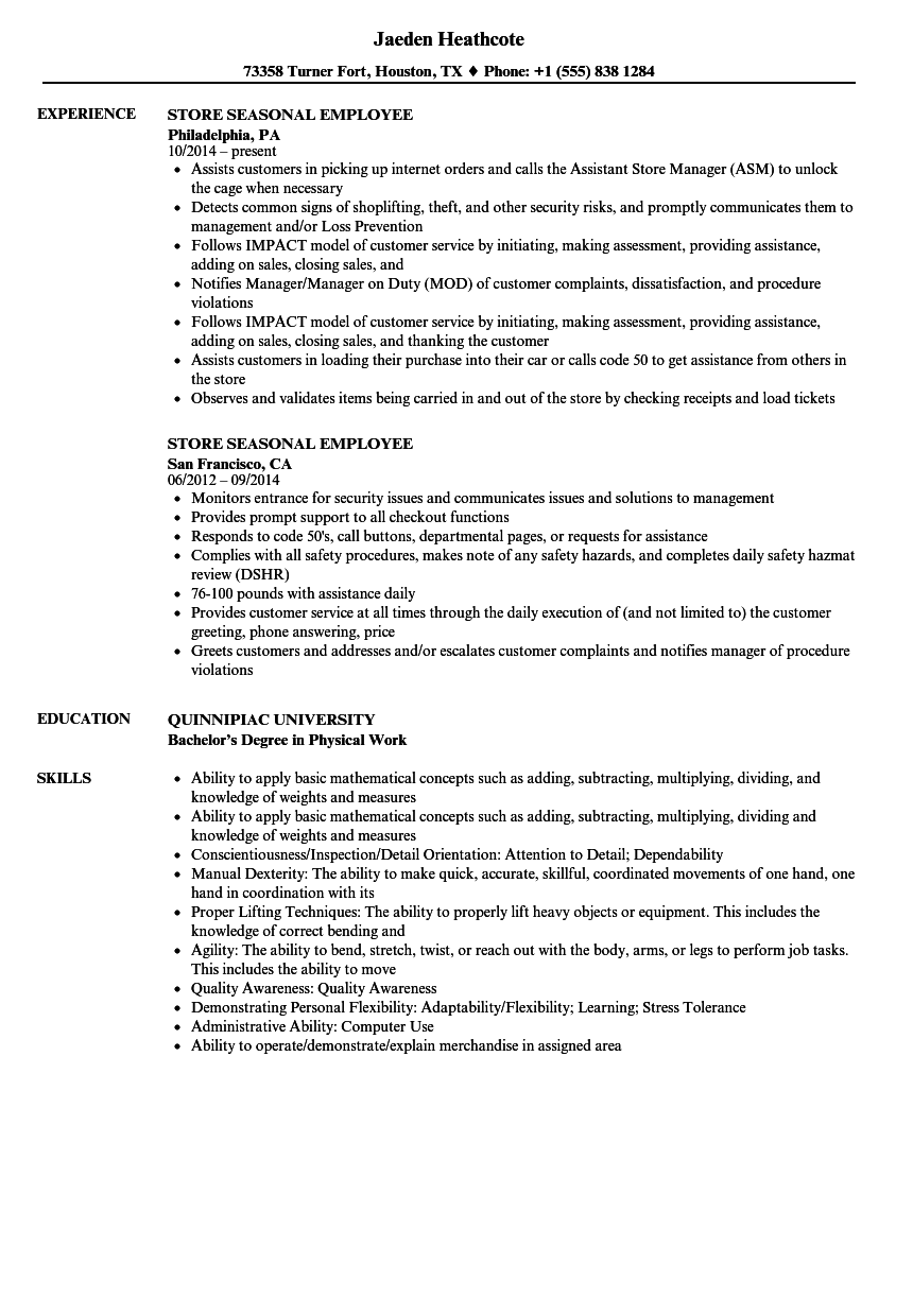 Store Seasonal Employee Resume