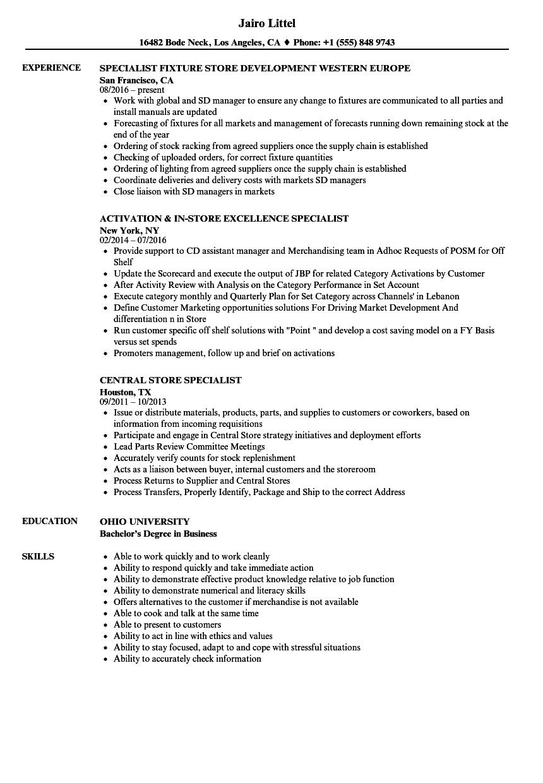 Store Specialist Resume Samples | Velvet Jobs