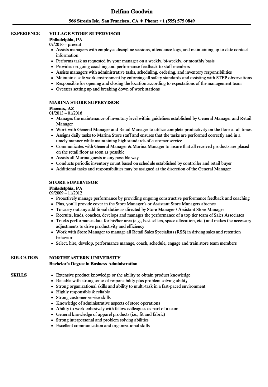 Store Supervisor Resume Samples Velvet Jobs