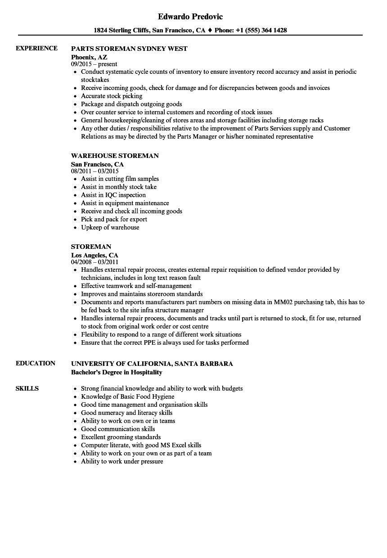 storeman resume samples
