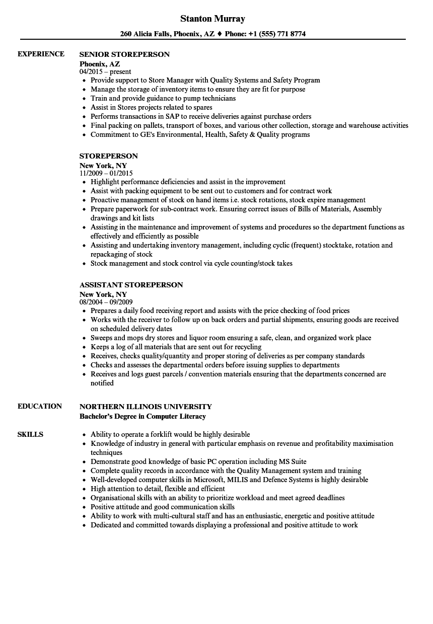 Storeperson Resume Samples Velvet Jobs