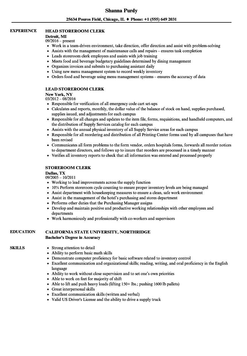 Storeroom Clerk Resume Samples | Velvet Jobs