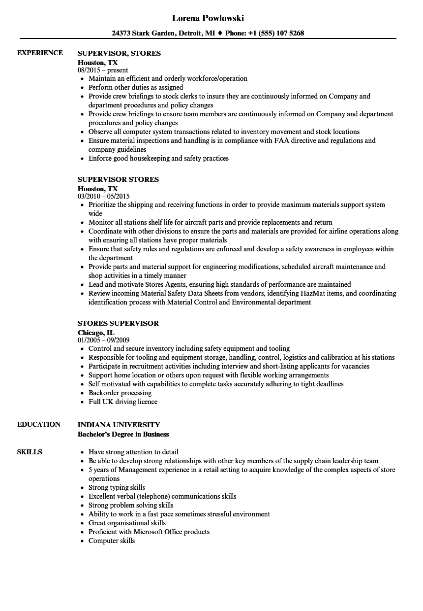 Stores Supervisor Resume Samples | Velvet Jobs