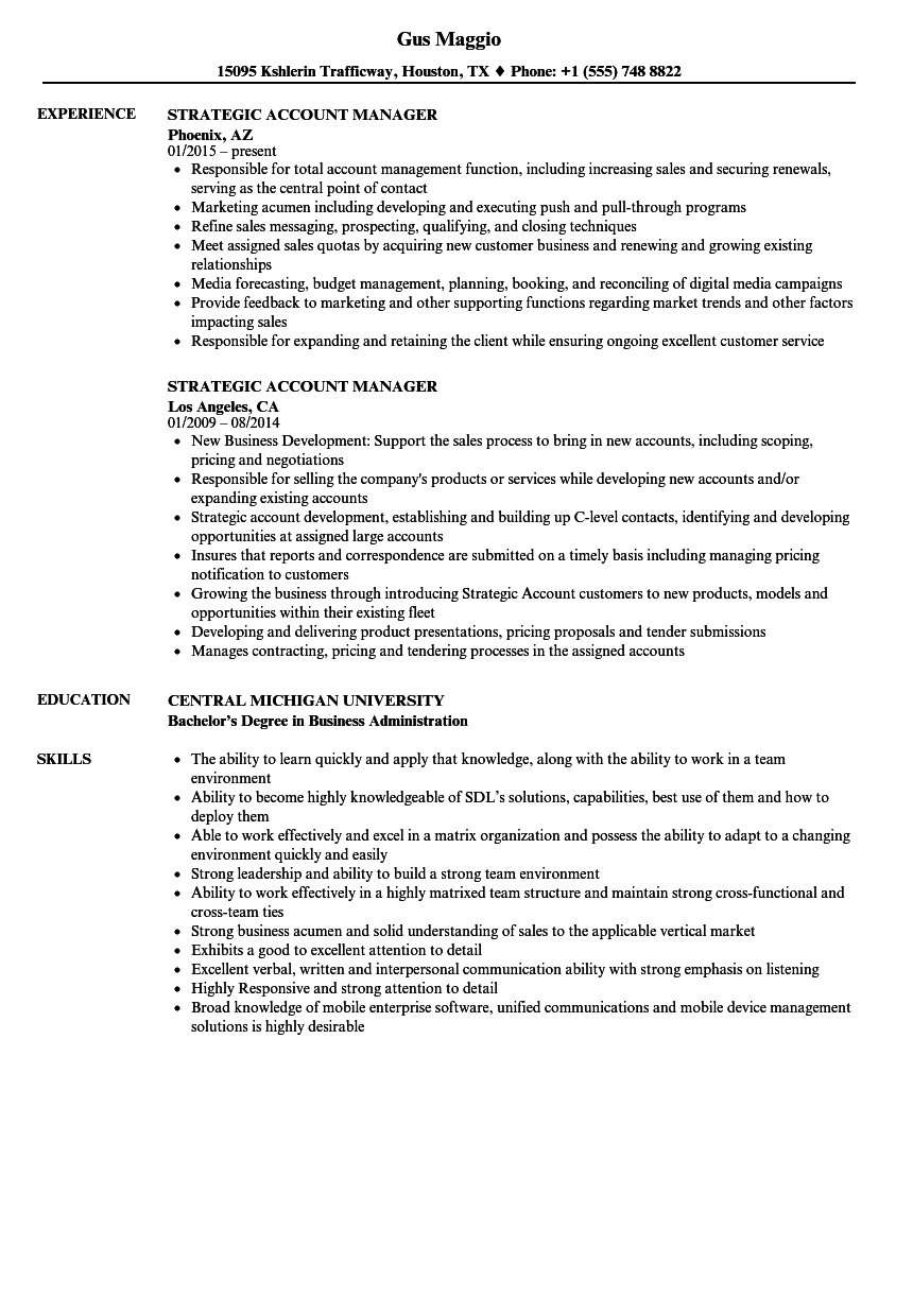 Strategic Account Manager Resume Samples | Velvet Jobs