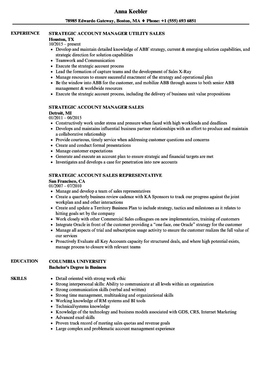 strategic account manager resume