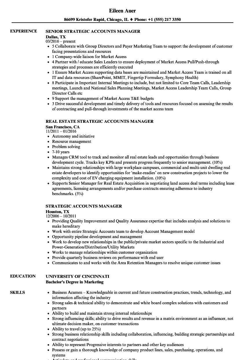 Strategic Accounts Manager Resume Samples | Velvet Jobs