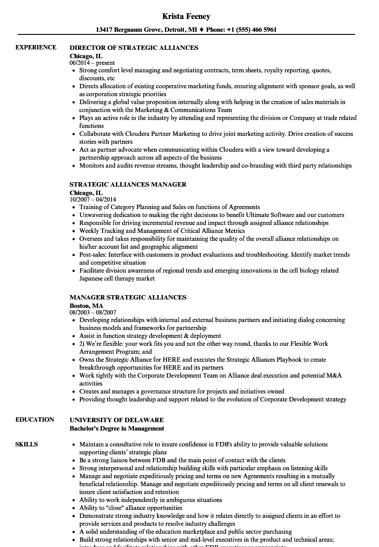 Strategic Alliances Resume Samples | Velvet Jobs