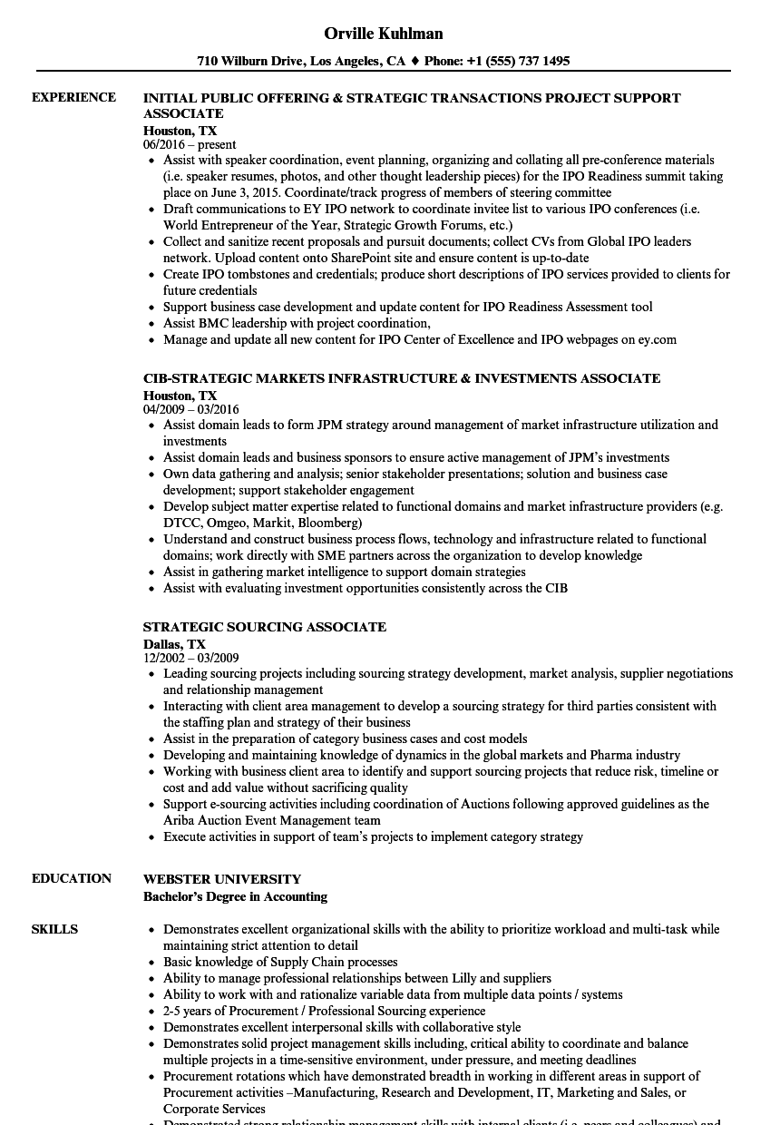 strategic associate resume samples