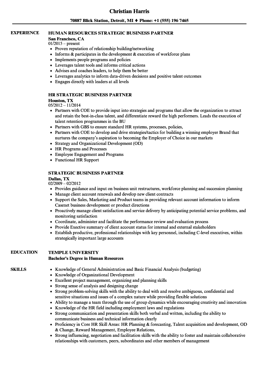 Strategic Business Partner Resume Samples | Velvet Jobs