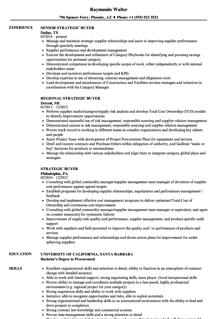 Strategic Buyer Resume Samples Velvet Jobs