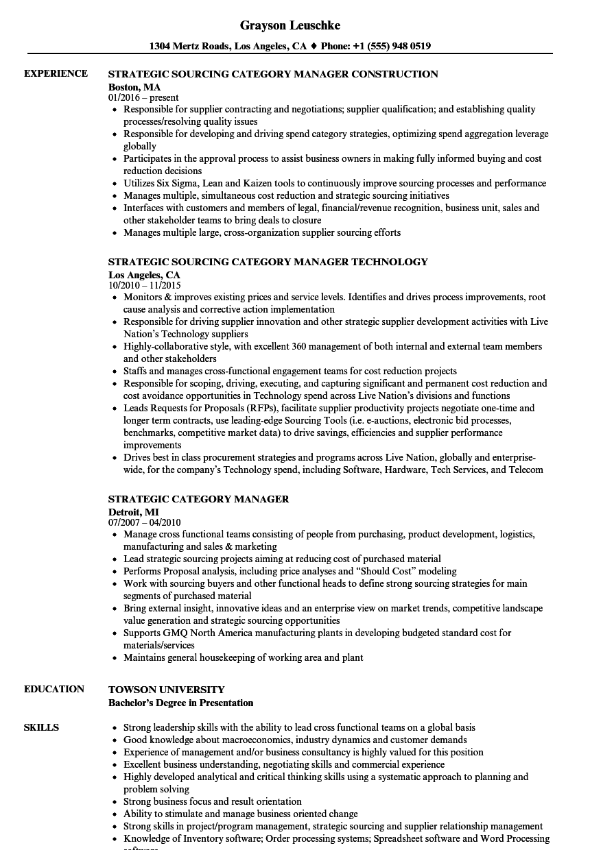 Strategic Category Manager Resume Samples | Velvet Jobs