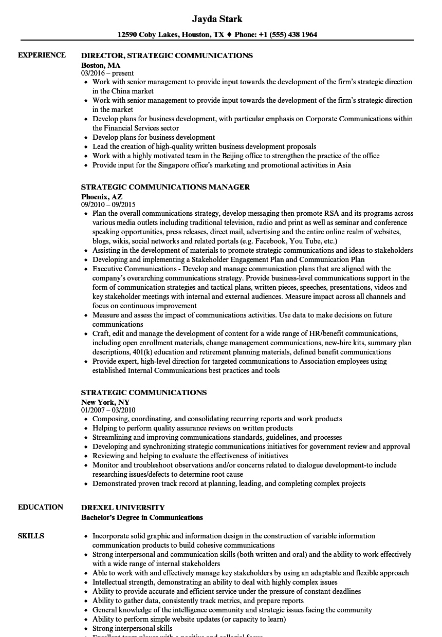 strategic communications resume samples