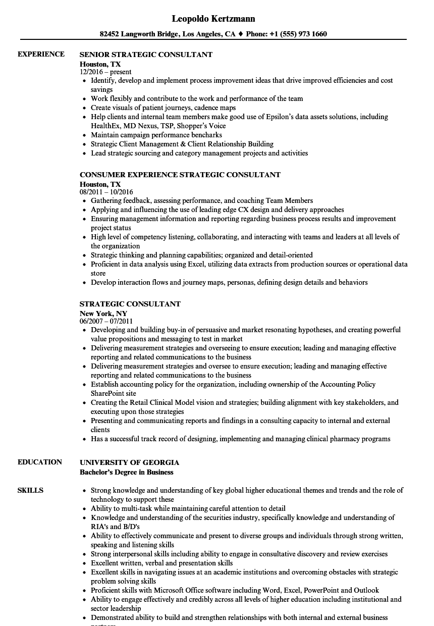 strategic consultant resume samples