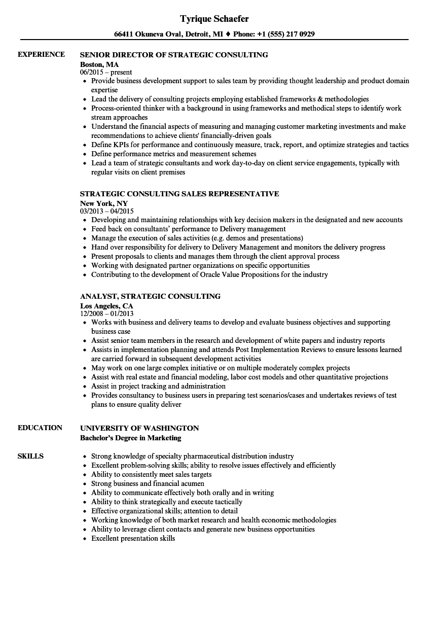 strategic consulting resume samples