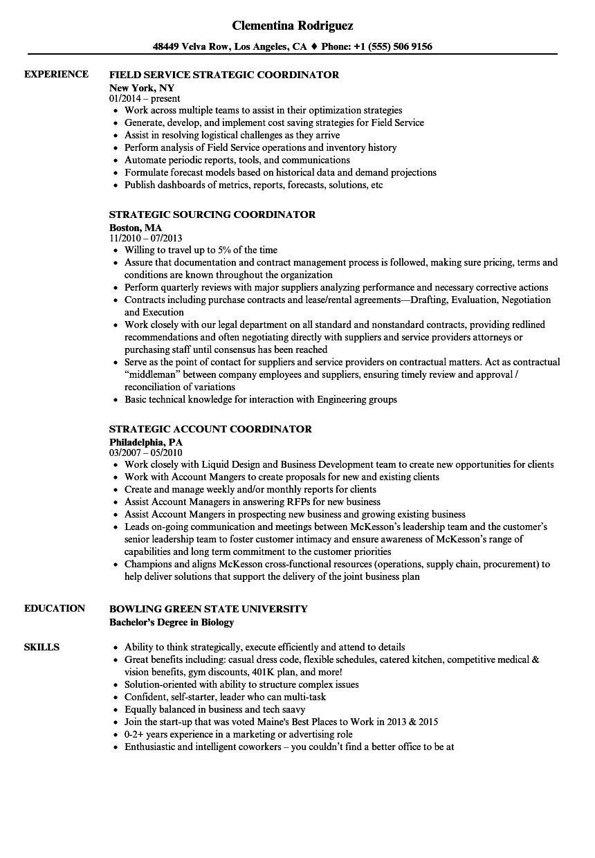 Strategic Coordinator Resume Samples