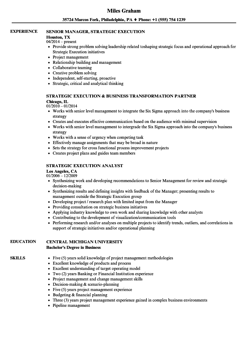 Strategic Execution Resume Samples Velvet Jobs - Resume model
