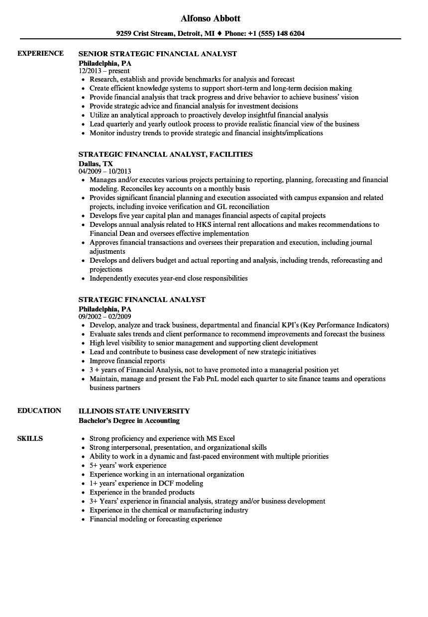 strategic financial analyst resume samples