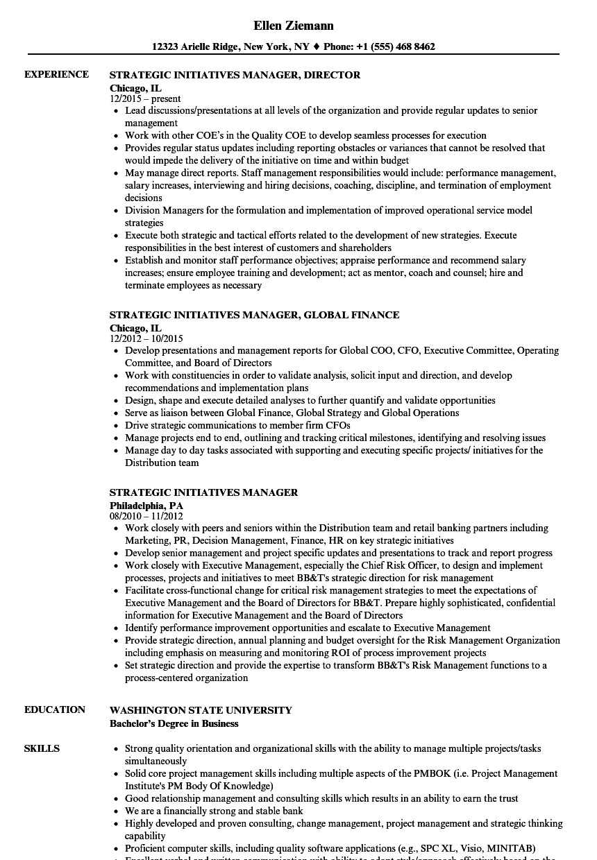 strategic initiatives manager resume samples