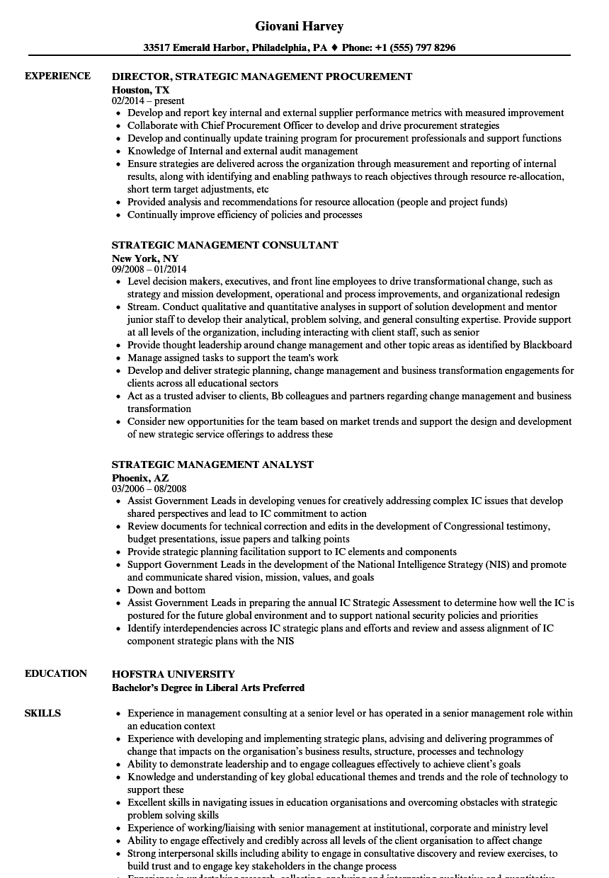Strategic Management Resume Samples Velvet Jobs
