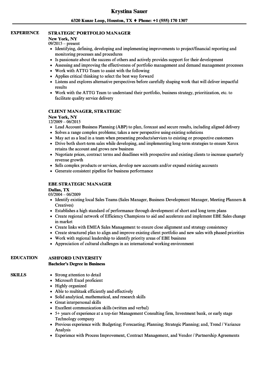 Strategic Manager Resume Samples | Velvet Jobs