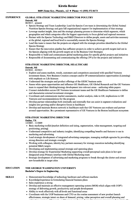 strategic marketing director resume samples