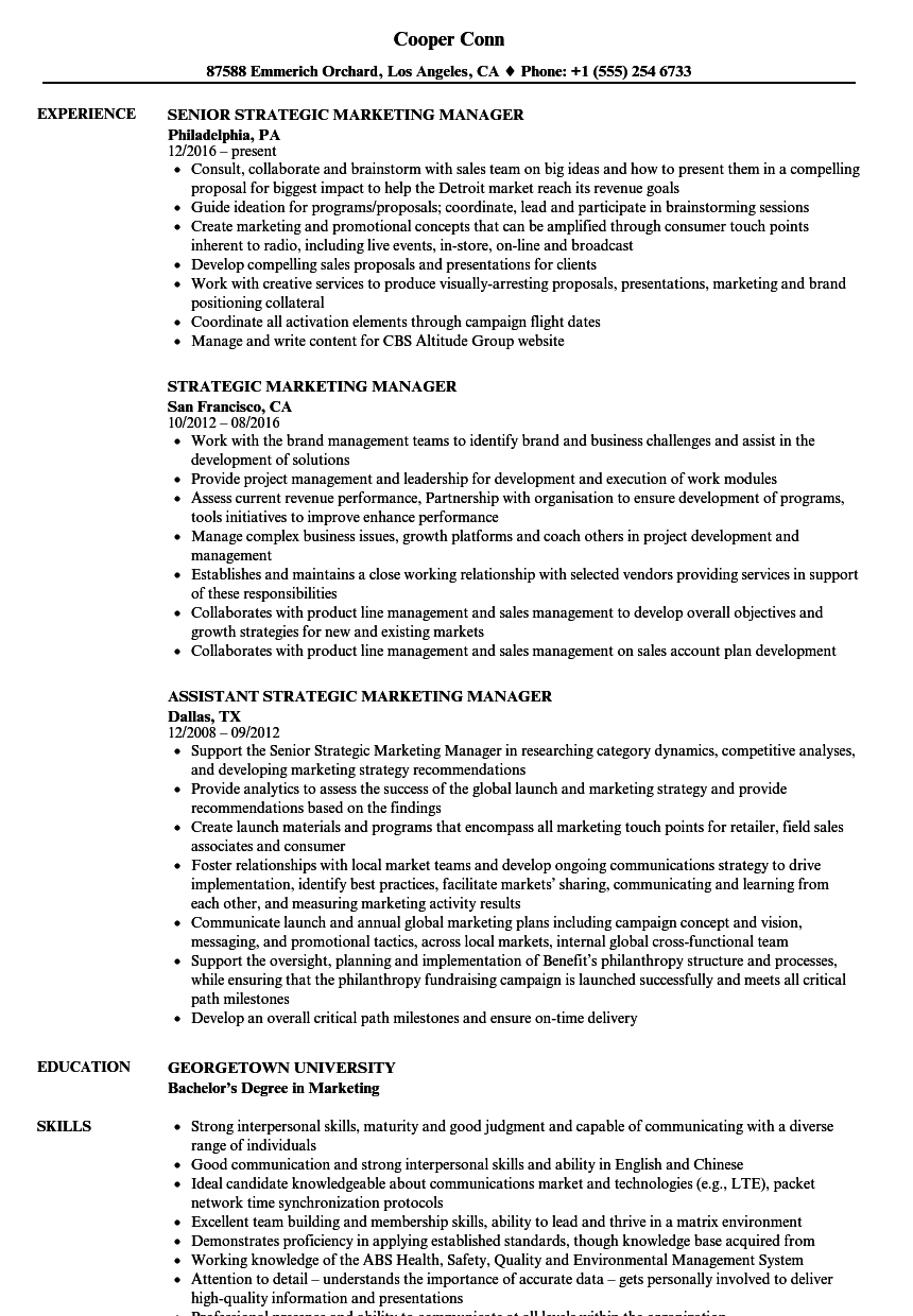 Strategic Marketing Manager Resume Samples | Velvet Jobs