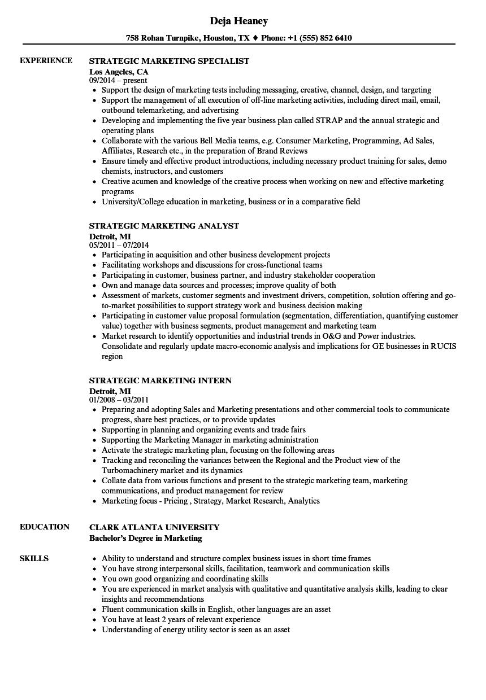 Strategic Marketing Resume Samples | Velvet Jobs