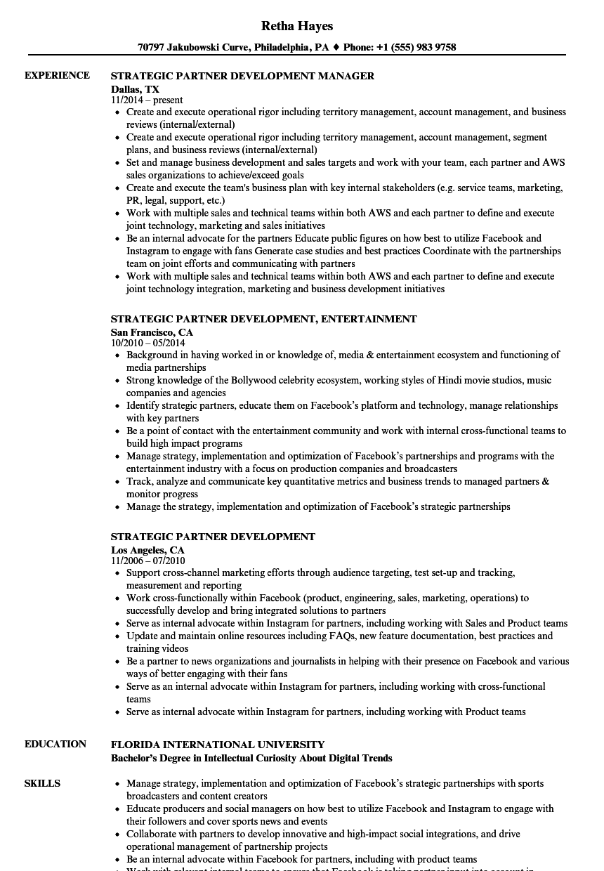 download strategic partner development resume sample as image file