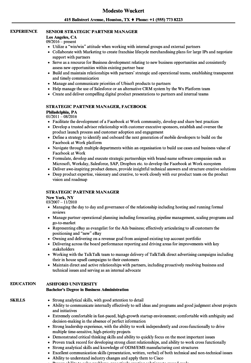 strategic partner manager resume samples