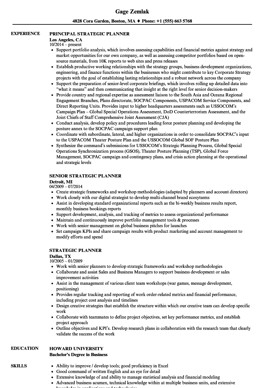 strategic planner resume samples