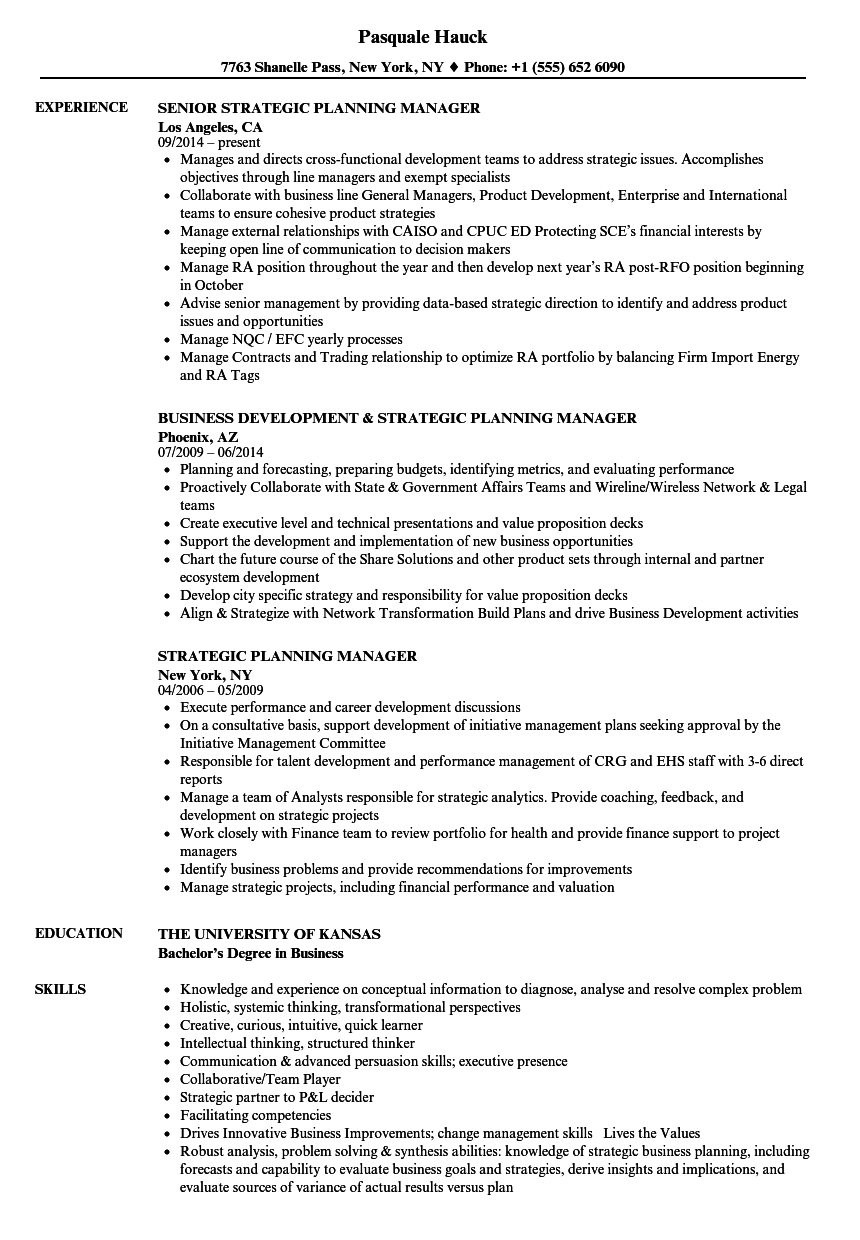 strategic planning manager resume samples