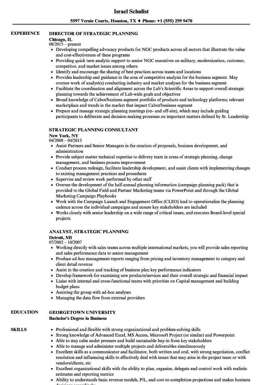 strategic planning resume examples