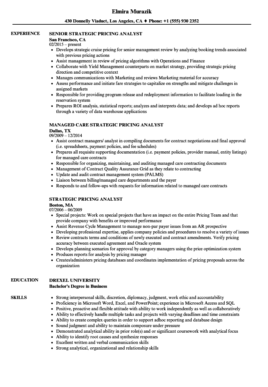 strategic pricing analyst resume samples