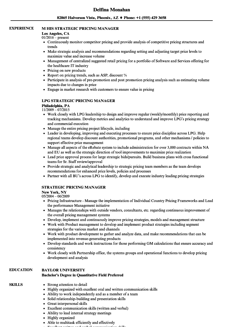 strategic pricing manager resume samples