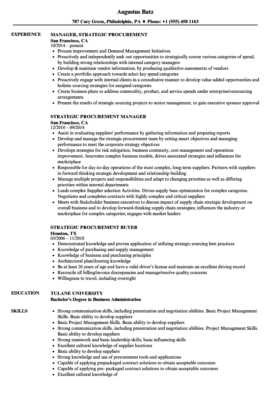 strategic procurement resume samples
