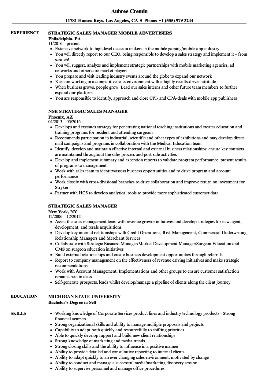 Strategic Sales Manager Resume Samples Velvet Jobs