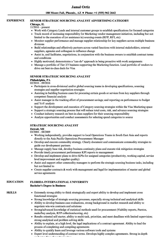 strategic sourcing analyst resume sles velvet