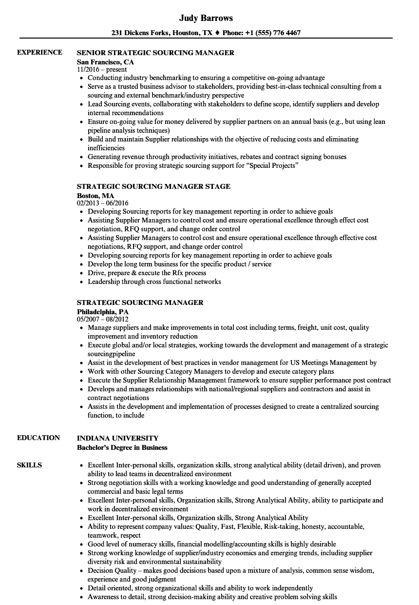 Strategic Sourcing Manager Resume Samples | Velvet Jobs