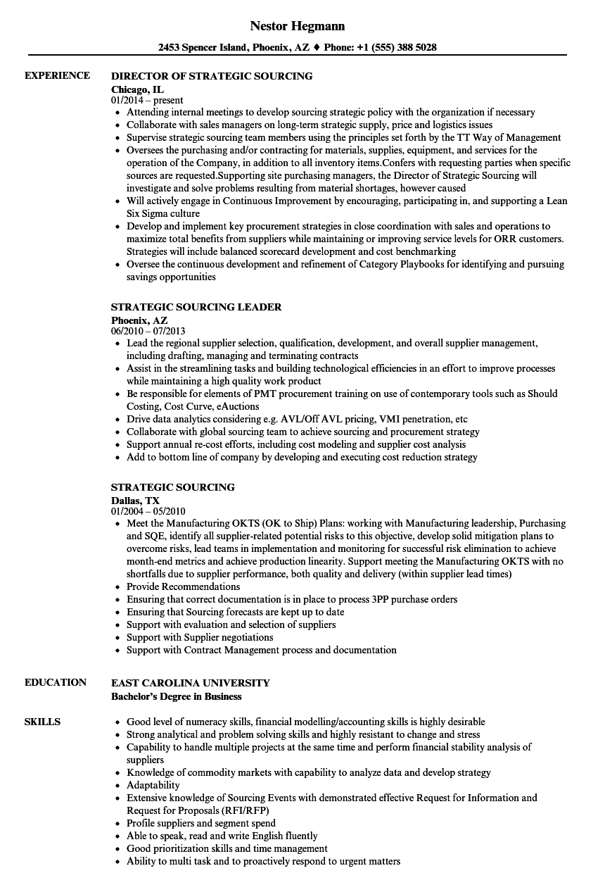 strategic sourcing resume samples