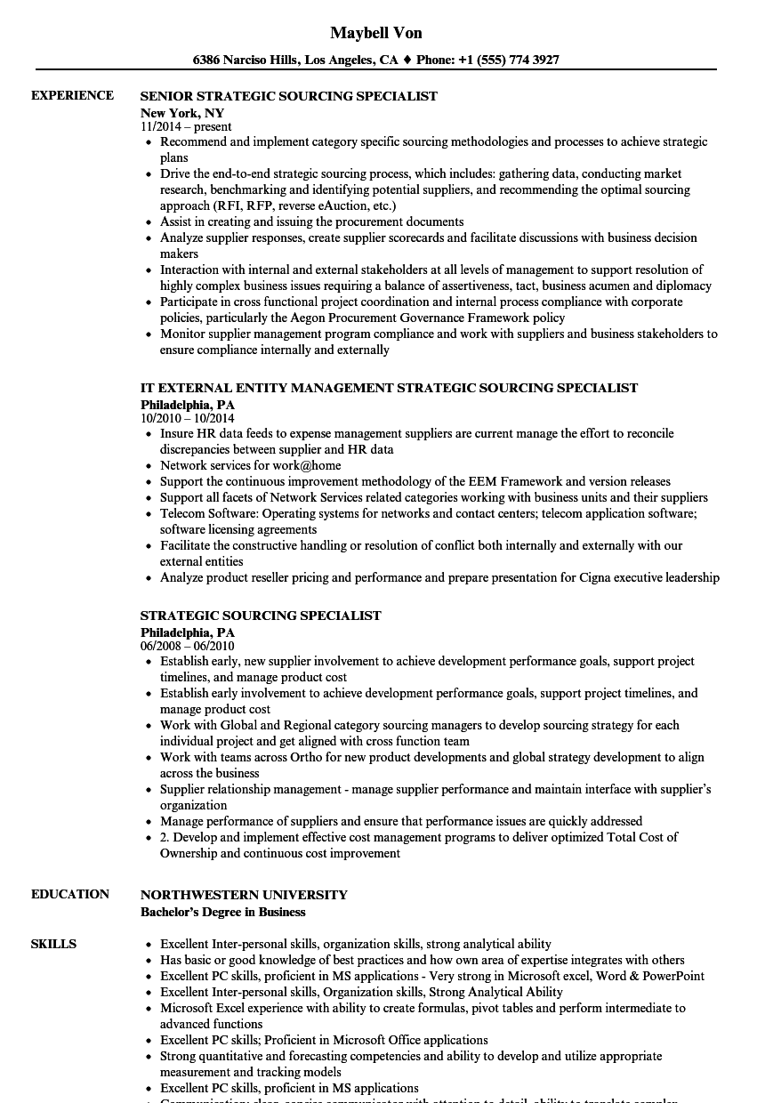 Strategic Sourcing Specialist Resume Samples