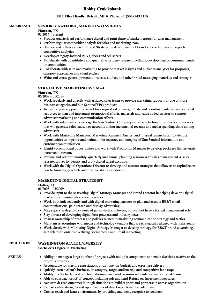 download strategist marketing resume sample as image file - Digital Strategist Resume