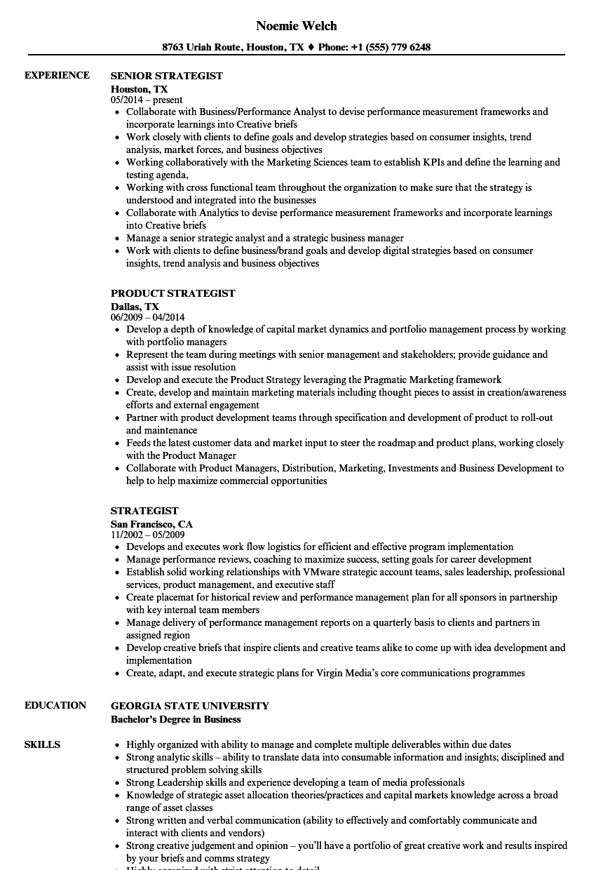 Strategist Resume Samples | Velvet Jobs