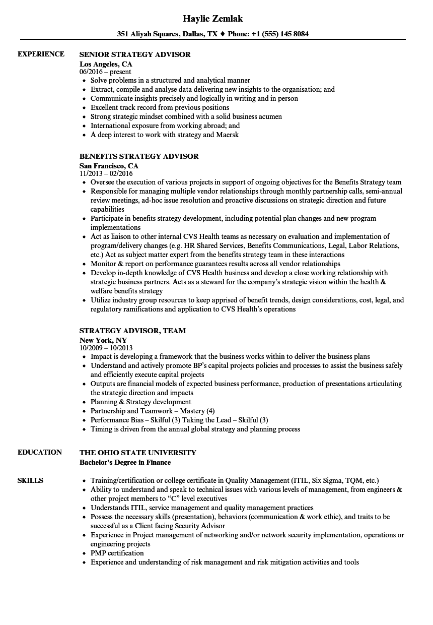 Strategy Advisor Resume Samples | Velvet Jobs