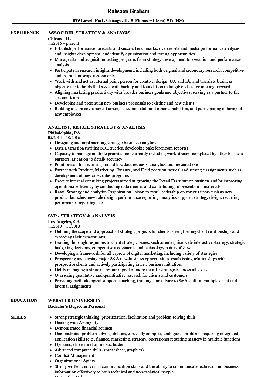 Strategy & Analysis Resume Samples | Velvet Jobs
