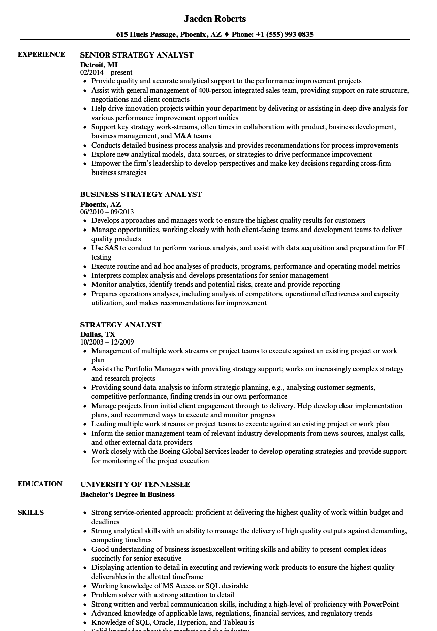 Strategy Analyst Resume Samples | Velvet Jobs
