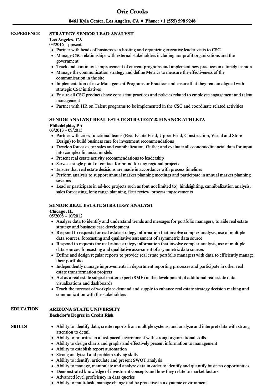 Strategy Analyst / Senior Analyst Resume Samples | Velvet Jobs