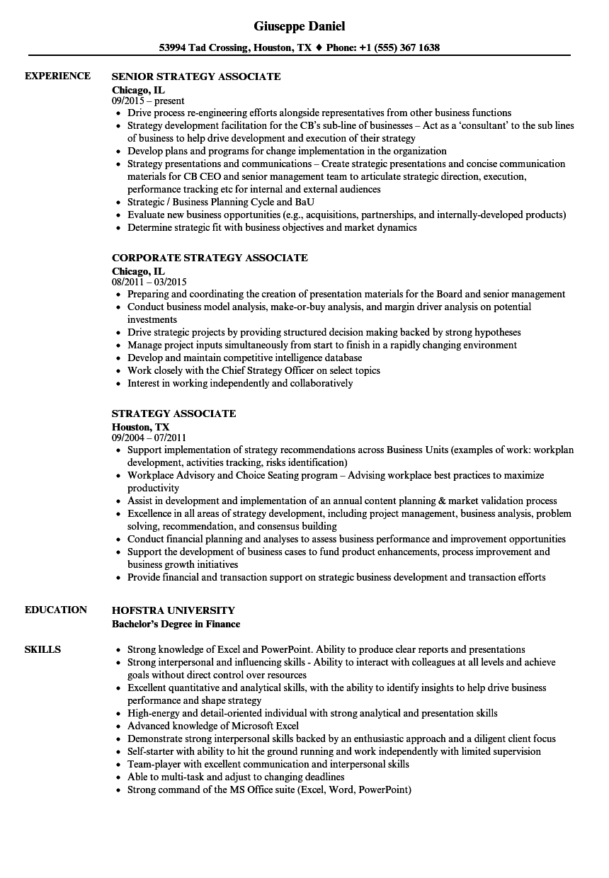 Strategy Associate Resume Samples | Velvet Jobs